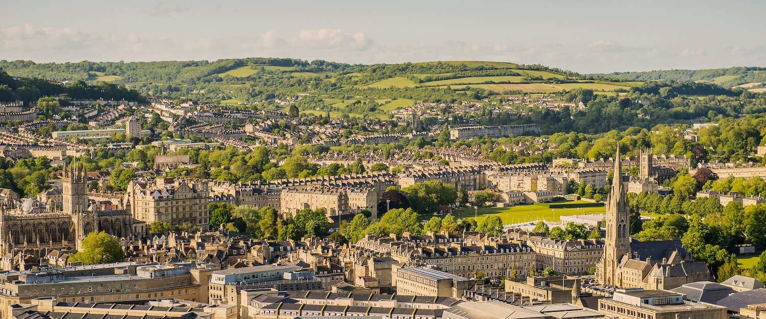 View from above of the stone town of Bath