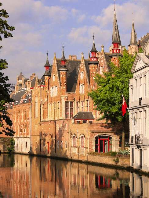 Medieval architecture at a canal in Bruges