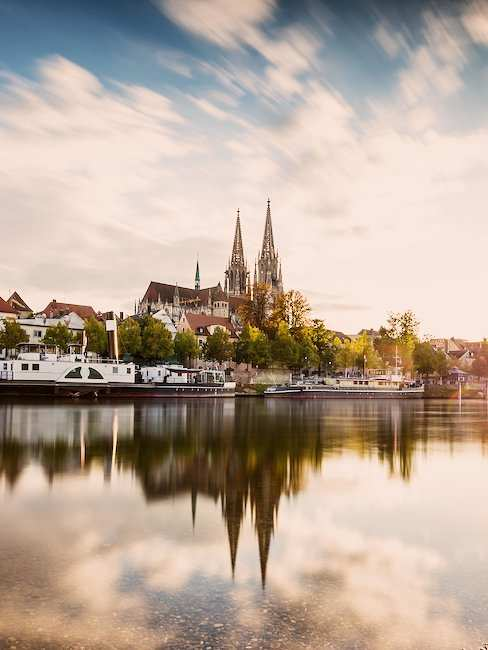The dreamlike skyline of Regensburg in Eastern Bavaria