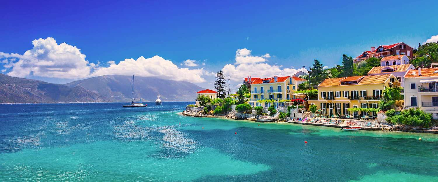 Turquoise blue water on the island of Kefalonia