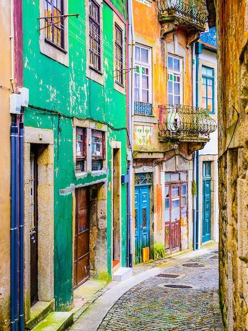 Colorful alleys in Porto