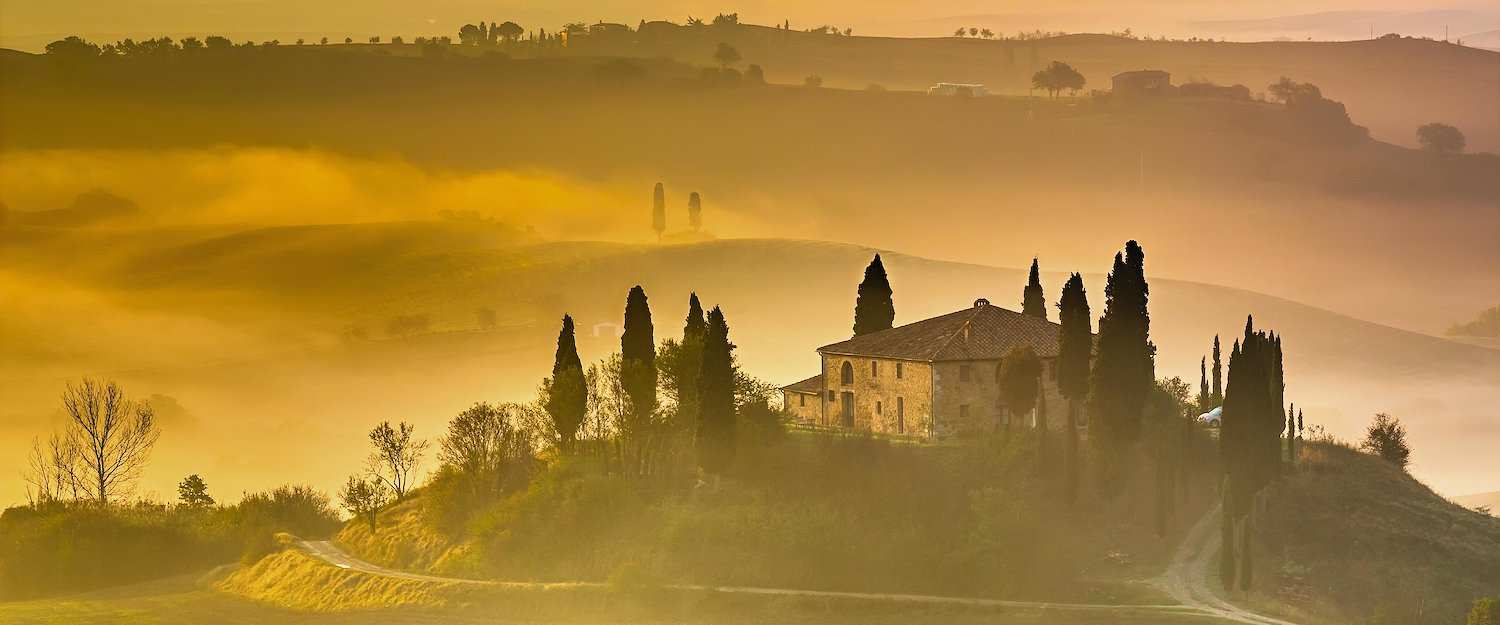 Enjoy golden sunsets in Tuscany