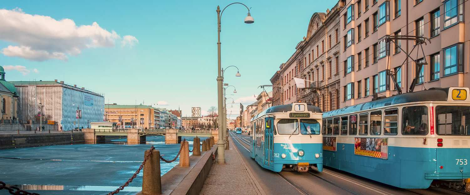 Typical old trams in the centre of Gothenburg