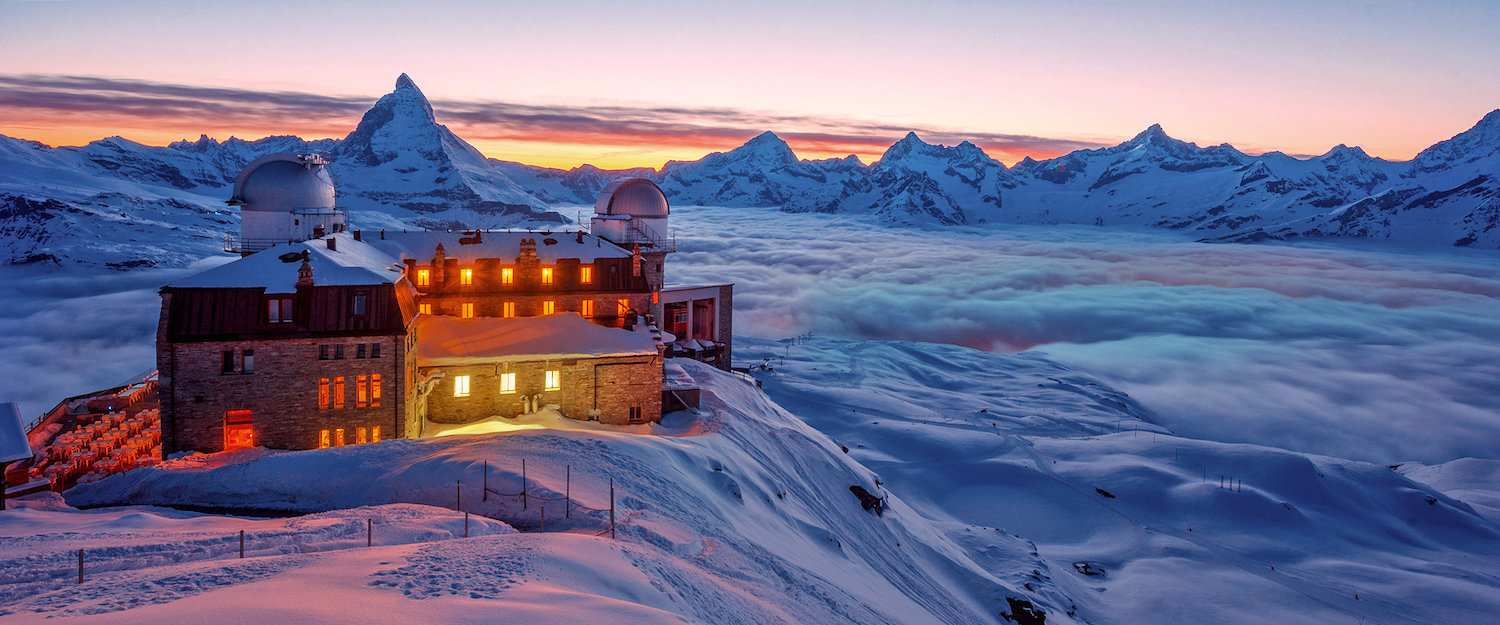 Hotel in dreamlike snow landscape in Zermatt