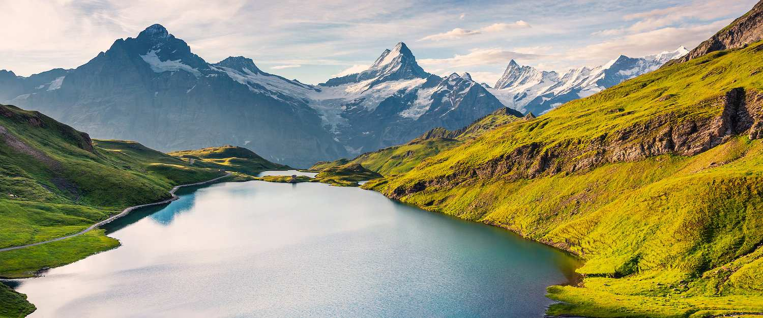 View of the Bachsee and the Wetterhorn in Switzerland