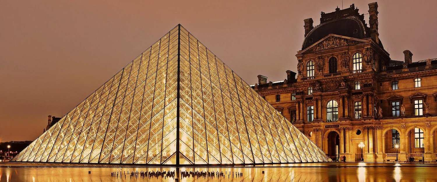 World-famous glass pyramid of the Louvre