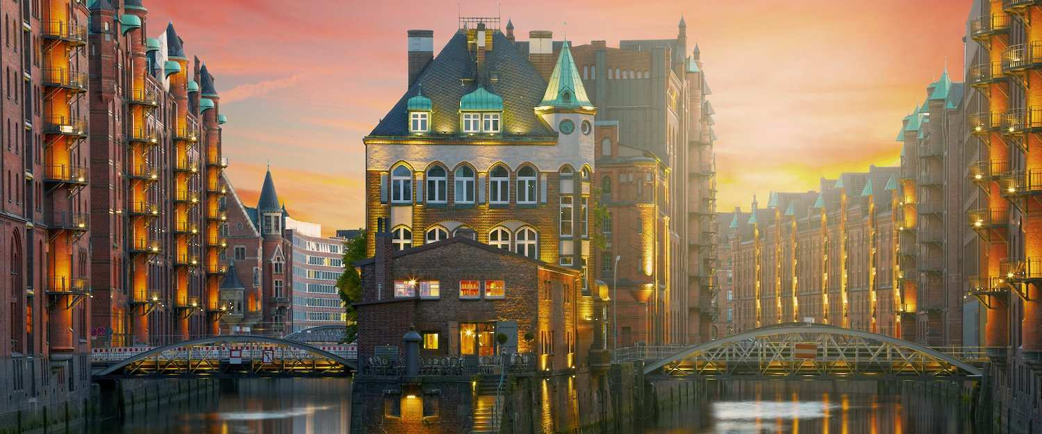 The famous Speicherstadt on the river Elbe