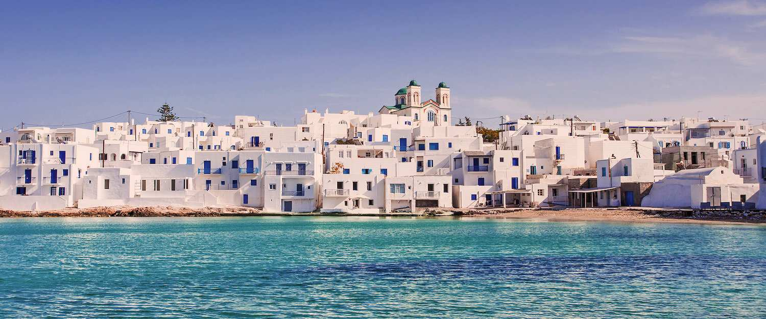 Picturesque white village Naoussa on Paros