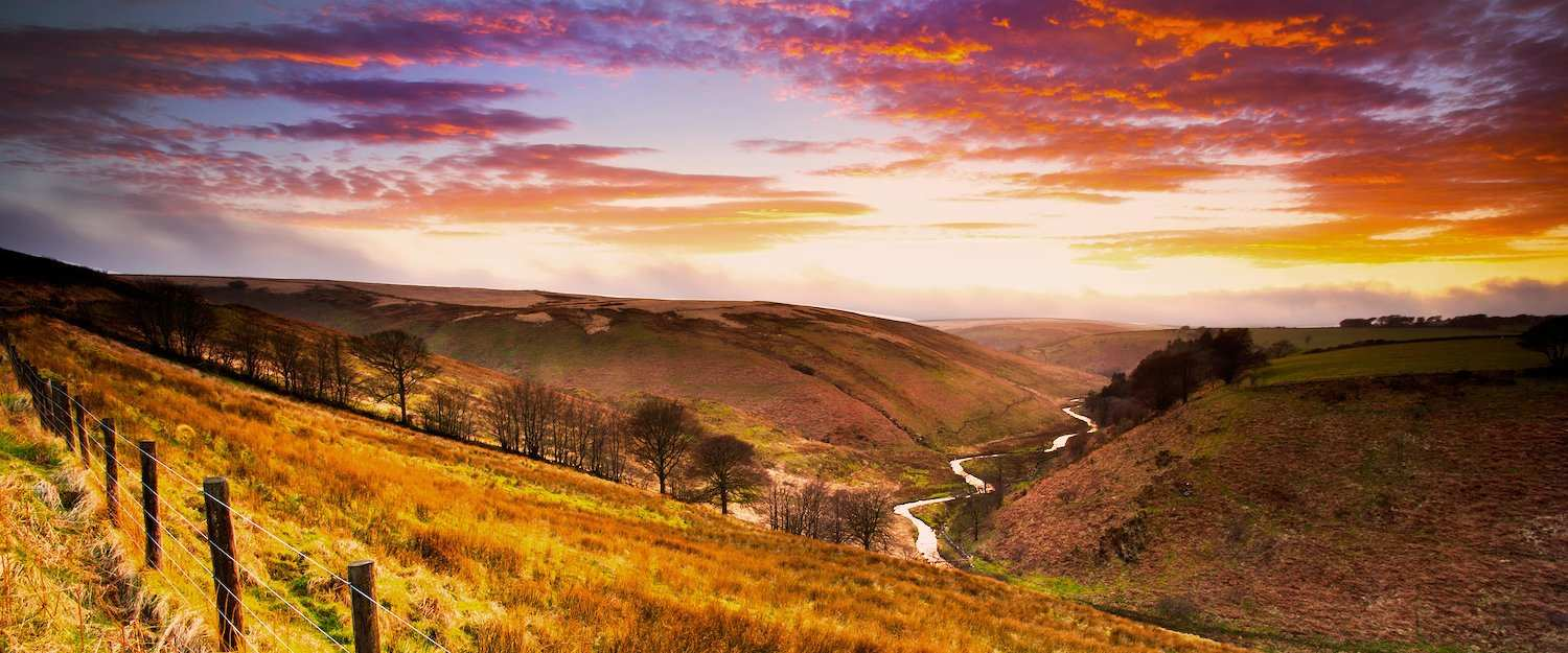 Exmoor National Park at sunset