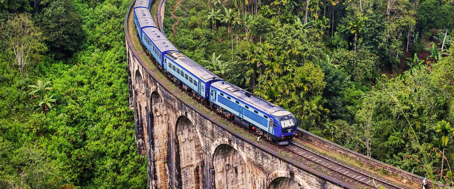 Train on the mountains of Sri Lanka over the nine-arch bridge