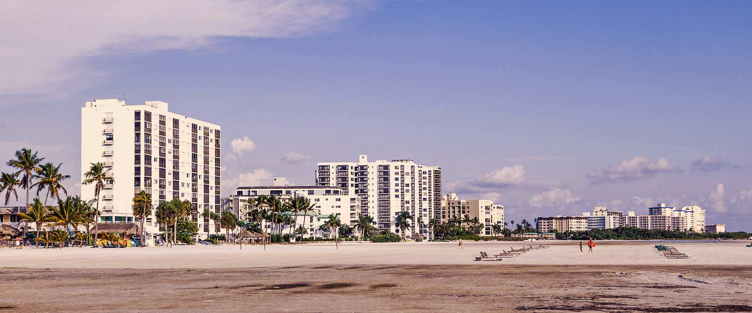 Hotels on the beach promenade of Fort Myers Beach