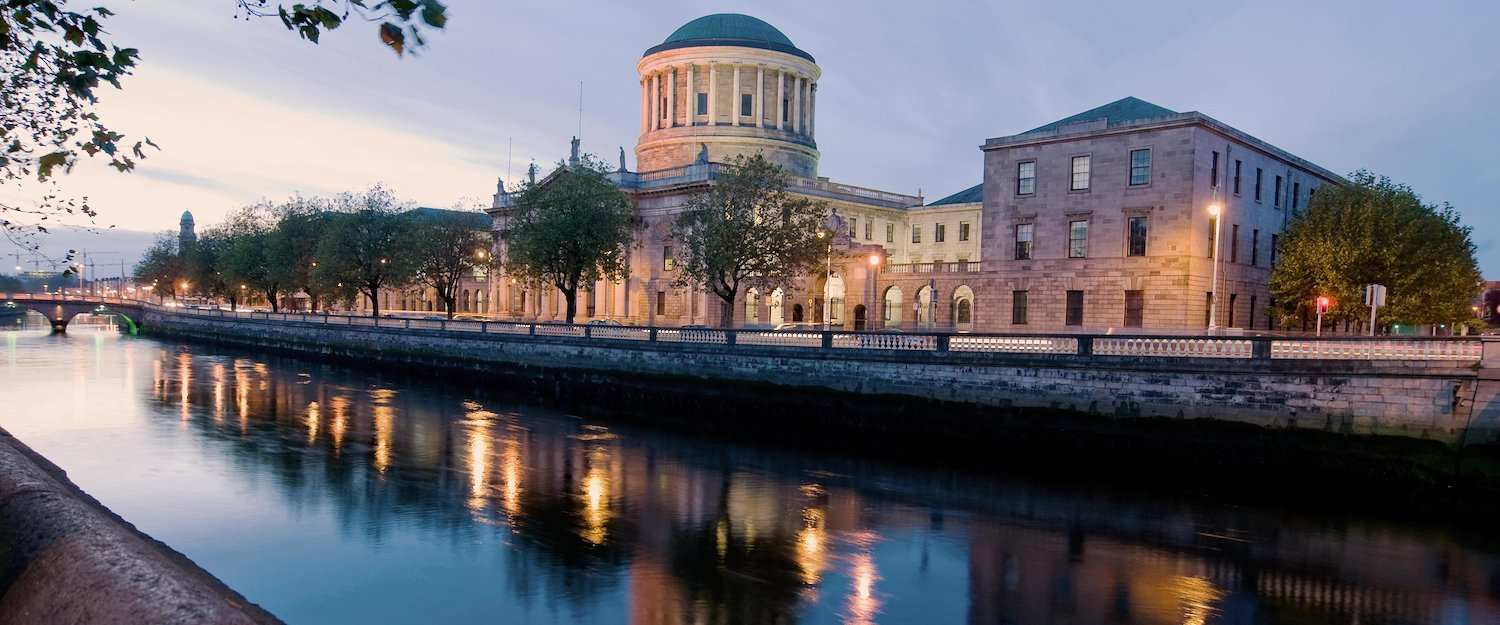 The River Liffey flows calmly through the centre of Dublin.
