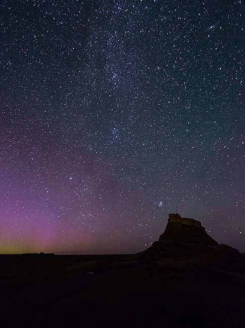 Lindisfarne Castle and spangled sky