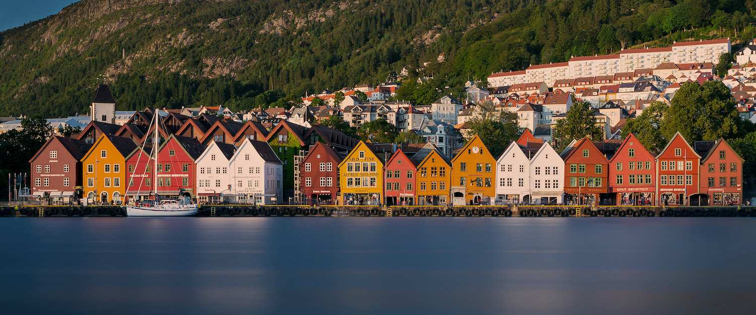 Bergen's colourful front of houses directly on the waterfront