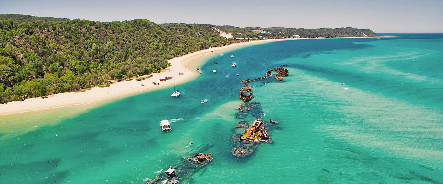 Shipwrecks of Tangalooma on the offshore island Moreton